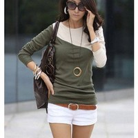 @Free Shipping@Ladies Cotton Green Top One Size H4830gr from Voguegirlgo