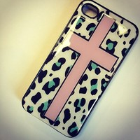 BLACK Snap On Case iPhone 4 4S Plastic - Pink Cross Mint Leopard Print teal aqua tiffany