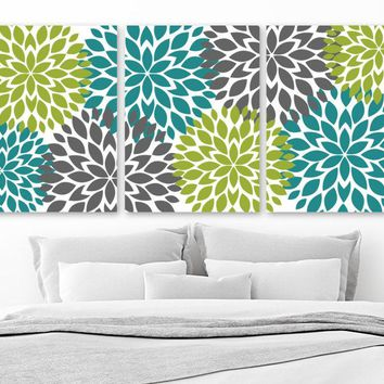 Flower WALL ART, Teal Green Gray Bedroom Wall Decor, CANVAS or Prints, Flower Bathroom Pictures, Floral Home Decor, Set of 3 Flower Pictures