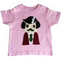 Pink Ron Burgundy Anchorman Shirt: Handmade Felt Appliqued T-Shirt (Baby Sizes Available Too)