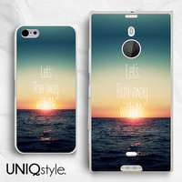 Let's run away with me - life quote phone case for iPhone 4 4s 5 5s 5c, Samsung s5, htc one m7 m8 htc one max, Nokia Lumia 1520 - W10