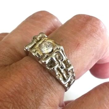 Vintage Modernist Brutalist Clear Rhinestone Silver Tone Ring Size 8.5