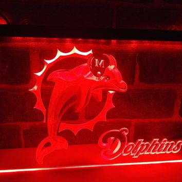 LA135o- Miami Dolphins Badge Bar Beer LED Neon Light Sign