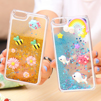 6S/6Plus Capa Cute Liquid Glitter Quicksand Star Case For Apple iphone 6 6S 4.7/ Plus 5.5 Bee Crystal Clear Cellphone Back Cover
