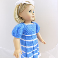 Dress for 18 Inch Doll, Blue Doll Dress, AG Doll Clothes