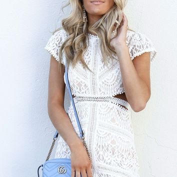 Lovely Ways White Open Back Lace Dress