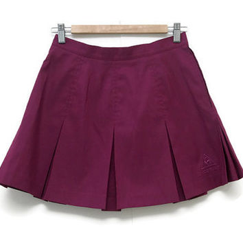 Vintage Tennis Skirt~Size Medium/Waist 27~80s 90s High Waisted Pleated Purple Athletic Sporty Minimal Skirt~By Le Coq Sportif
