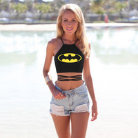 Batman Print Criss Cross Crop Top