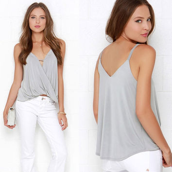 Solid Color Shirt Female Strapless Camisole Top - Grey