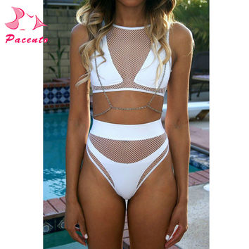 AXESEA 2017 Brazilian Bikinis Women Swimsuit Sexy Perspective High Waist Bikini Beach Bathing Suit Swim Wear Three Piece Set