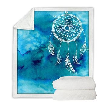 Watercolor Dreamcatcher Boho Throw Blanket