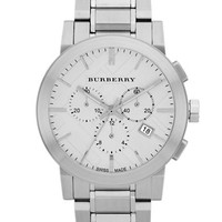 Burberry Ladies Stainless Steel Large Chronograph Watch