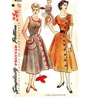 Simplicity 4105 Sewing Pattern 50s One Piece Button Front Casual Day Tea Garden Apron Dress Full Skirt Asymmetrical Off Side Uncut Bust 32