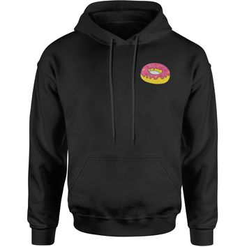 Embroidered Donut With Sprinkles Patch (Pocket Print) Adult Hoodie Sweatshirt