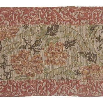 Floral Nature Garden Beige Orange Spices Hand-Crafted Decorative Woven Place Mat Table Runners Cloths (10072)