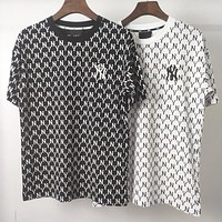 NY New fashion more letter couple top t-shirt Black