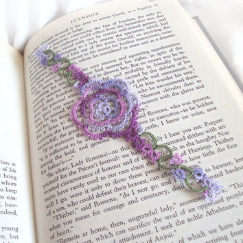 Tatted Rose Bookmark , Lilac , Grape , Green Lace - Rosa Version 1