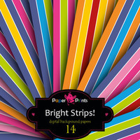 Digital paper, multicolor paper, bright strips, background paper, digital sheets, printable paper, birthday paper, event paper