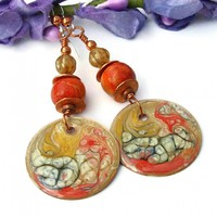 Red Orange and Golden Yellow Autumn Earrings, Apple Coral Handmade Fall Jewelry for Women