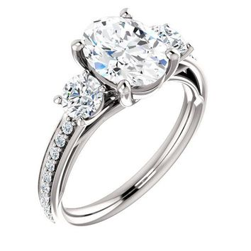 2.0 Ct Oval 3 Stone Diamond Engagement Ring 14k White Gold