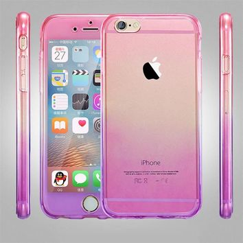 360 Degree Full Front + Back Protect RainBow Cover For iPhone 7 /7 8 Plus SE 5 5s 6 6s TPU Gel Silicone Transparent Phone Cases