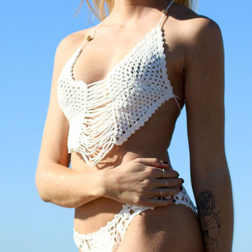 White Spaghetti Strap Cut Out Knitted Bikini Set