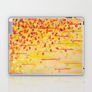 WHEN IT FALLS Bold Autumn Winter Leaves Abstract Acrylic Painting Christmas Red Orange Gold Gift Laptop & iPad Skin by EbiEmporium | Society6