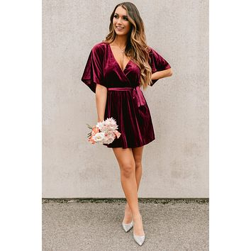 Classic Moments Velvet Dress (Burgundy)