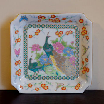 Vintage Japanese Square Dish- Handpainted Peacocks & Flowers- Imari Style Porcelain Signed-  22 K Gold Paint- Asian Themed Home Decor