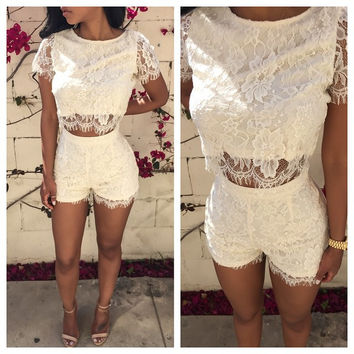 White Floral Lace Short Sleeve Cropped Top and Shorts