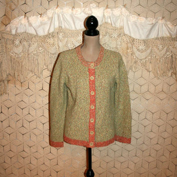 Chunky Cardigan Sweater Slouchy Grunge Sweater Boho Grunge Clothing Spring Casual Wool Tweed Sweater Green Orange Medium Womens Clothing