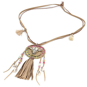 Bohemia Jewelry Thread Tassel Long Necklace Sweatern Alloy Cow Head Pendant