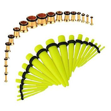 BodyJ4You Gauges Kit Neon Yellow Tapers Gold Plugs Steel 14G-00G Stretching Set 36 Pieces