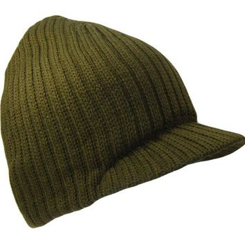 DCCK7BE Olive Green College Style Campus Jeep Visor Beanie Winter Knit Ski Cap Caps Hat