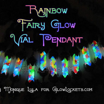 Rainbow Fairy Glow in the Dark Vial Lantern Pendant