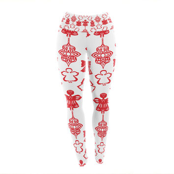"Miranda Mol ""Angels Singing White"" Red Holiday Yoga Leggings"