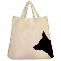 German Shepherd Silhouette Portrait Design Extra Large Eco Friendly Reusable Cotton Canvas Tote Bag