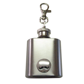 Glossy Circular Mustache 1 oz. Stainless Steel Key Chain Flask