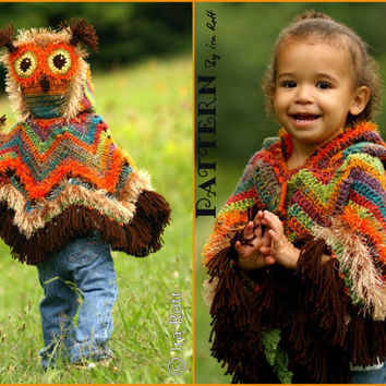 PATTERN  Acorn Owl Poncho   Crochet PDF Pattern by FashionPatterns