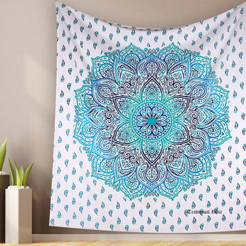 Bohemian Ombere Mandala Tapestry Wallhanging For Dorm Wall Decor