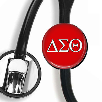 Stethoscope ID Tag - Delta Sigma Theta Greek Letters RED
