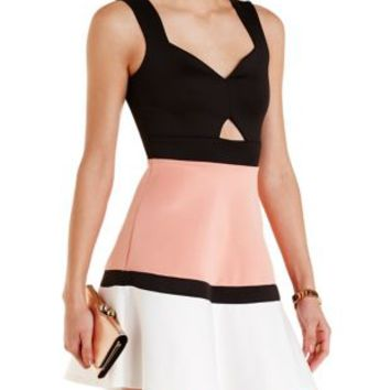 Black Combo Color Block Cut-Out Skater Dress by Charlotte Russe