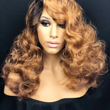 Auburn & Honey Brown Ombre Dark Root Lace Front Wig Human Hair Blend Lace Wig