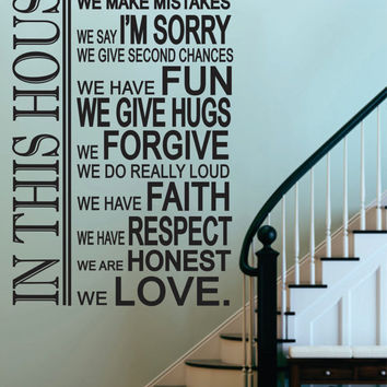 "Vinyl Wall Sticker Decal -In This House-House Rules  - Livingroom - Kitchen-Entry-Rec Room- Photo Wall -Picture Wall 48""H x 32""W"