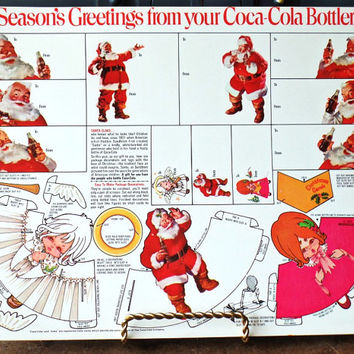 Vintage Christmas Coca Cola Advertising, Gift Tags, Package Decoration, Santa, Angels, Ephemera, Collectible