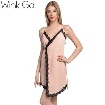 Wink Gal Slip Silk Dress Sexy Party Dress Short Beach Summer Dress Women Lace Up Nightgowns 3273