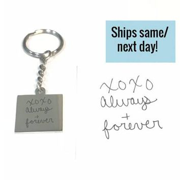 Custom Handwriting Keychain, Signature Keychain, Engraved Signature Handwriting, Gift for Her, Signature Keychain, Handwritten Engraving