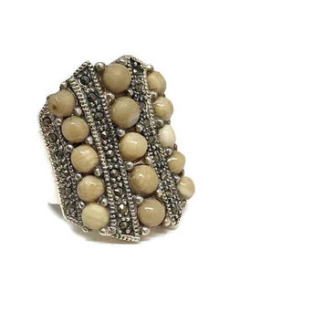 Sterling Silver Ring with Champagne Colored Banded Agate and Marcasite Size 9, Vintage Statement Ring, KTK Silver Ring, Silver Jewelry
