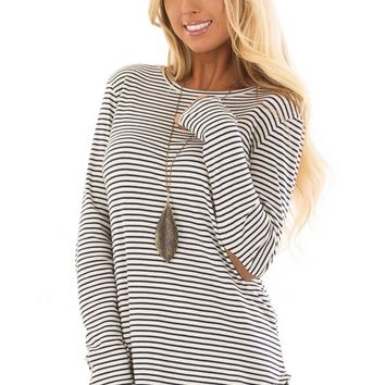Navy and Ivory Striped Top with Faux Suede Elbow Patches