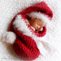 Christmas Baby Hat - Baby Christmas Hat & Cocoon - Baby Christmas Cocoon - Christmas Stocking Hat Great Details - 3 Different Looks